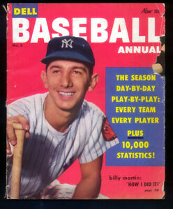 1- 8 1/2 x 11 Dell Baseball Annual with Billy Martin On the Cover 1954