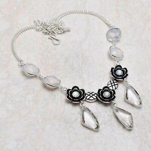 White Topaz Opalite Ethnic Handmade Necklace Jewelry 24 Gms AN 84350