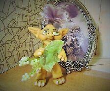 ALIEN TROLL MINI FIGURE ooak polymer clay Art doll figure miniature leaf berries
