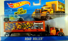 Hot Wheels Orange Road Roller Hauling Rig Truck w/ Light Blue Bone Shaker