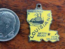 Vintage silver LOUISIANA STATE MAP BATON ROUGE NEW ORLEANS ENAMEL charm