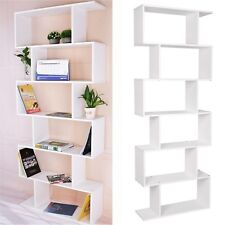 S Shape 6-tier Bookshelf Bookcase Floor-standing Storage Display Shelf Unit Home