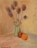 """Ray Letellier, French artist """"Pommes et Chardin"""", oil on panel, 1959"""
