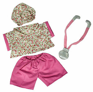 "TEDDY BEAR NURSE OUTFIT w/Stethoscope CLOTHES Fit 14""-18"" Build-a-bear !! NEW !!"