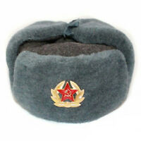 Authentic Russian Army Winter Ushanka Hat + Badge Red Star with Hammer & Sickle