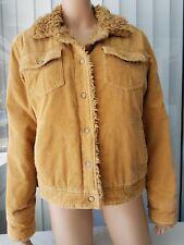 LILU Women's Corduroy Jacket Snap Buttons Lined Faux Trim  Sz Large Camel    D22