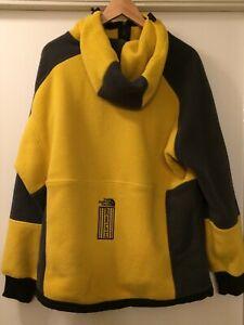 The North Face 94 Rage Classic Full Zip Fleece Hoodie Yellow/Grey Men Sz MEDIUM
