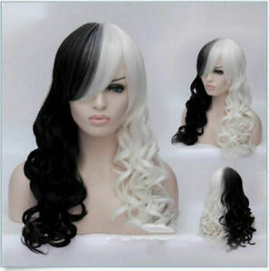 Women New Cruella Deville Cosplay Wig Black White Synthetic Long Curly Wigs