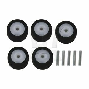 5pcs Black Rubber 13 x 6 x 2 mm Pinch Roller with Axis for Cassette Decks
