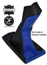 BLACK & BLUE LEATHER MANUAL GEAR KNOB GAITER COVER FITS MERCEDES E CLASS W211