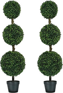 MY LUNA HOME 4ft Topiary Trees Artificial Outdoor Triple Ball Boxwood for Home a