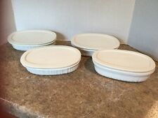 Set of 4 Corning Ware French White Oval Baking Dishes Au Gratin 15 oz W/ Covers