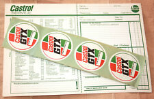 CASTROL SERVICE SHEET & 4 GTX Stickers. Suitable For Classic Motorcar Mechanics.