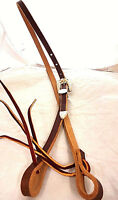 "Brown Harness Leather 1/2"" Bosal Hackamore Hanger Silver Bronc Buckle Set Horse"