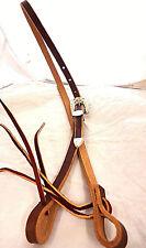 "Brown Harness Leather 1/2"" Bosal Hackamore Hanger Silver Bronc Buckle Set Horse"