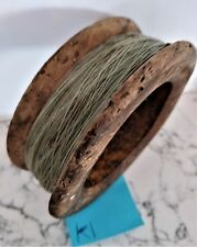 Vintage antique timber wooden fishing hand reel 12cm diameter x 4.2cm deep