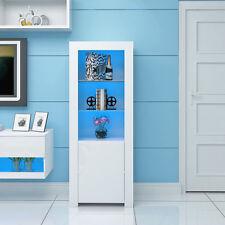 White 1.6m High Gloss Sideboard Cabinet Display Cupboard with LED Glass Shelf UK