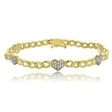 18K Gold on Siver Diamond Accent Heart & Leaf Bracelet
