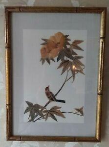 Vintage Asian Mixed Media Organic Bamboo Collage Art, Bird & Flower, Framed