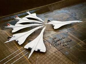 6 CONCORDES ON THE GROUND TOGETHER HAND SIGNED PHOTOGRAPH BRITISH AIRWAYS