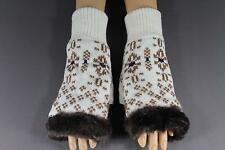 Cream Brown faux fur knit hand arm warmers fingerless gloves open thumb texting