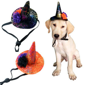 1X Halloween Pet Dog Cat Witch Hat fit for S/M/L Dogs Collar Dog Accessories