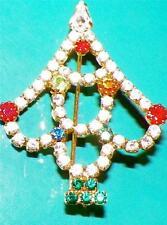 Vintage Christmas Tree Pin Tiny Colored Rhinestones Openwork Unusual