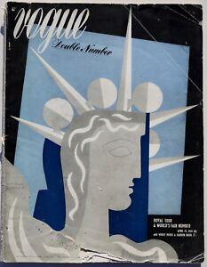 1939 London VOGUE Royal Tour Canada World Fair 30s vintage fashion magazine