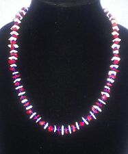 Men's Red Coral, Blue Glass and White Pucca Shell  Necklace