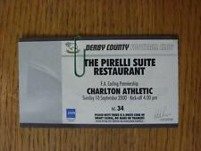 10/09/2000 billet: Derby County V Charlton Athletic [pirelliu suite restaurant]