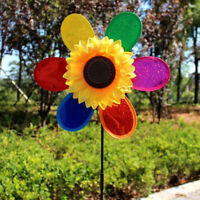 Colorful Sequins Sunflower Windmill Wind Spinner Home Garden Yard Decoration ^D