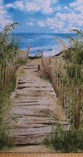 "23.5"" X 44"" Beach Haven Sand Dunes Grass Lake Ocean Cotton Fabric Panel D364.05"