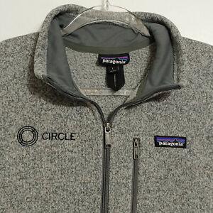 Mens Gray Circle Patagonia Sweater Vest Size Large Full Zip Pockets Sleeveless