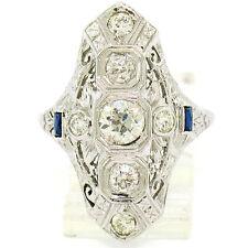 Antique Art Deco Long 18K White Gold 1.41ct European Diamond Filigree Diner Ring