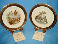 Two Lenox 24K Gold Woodland Wildlife Limited Edition Plates Raccoons, Chipmunks