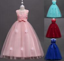 Kids Girl Princess Dress Party Pageant Prom Bridesmaid Wedding Long Flower Dress