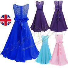 Girls Kids Flower Lace Dress Bridesmaid Party Princess Prom Wedding Christening