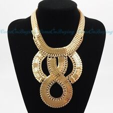 Fashion Gold Chain White Crystal Chunky Choker Statement Pendant Bib Necklace