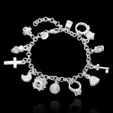"Pure 925 Sterling Silver Heart Cross Rings Star Beads Style 8.5"" Bracelet #013"