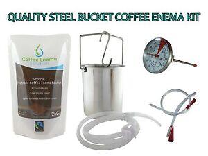 COFFEE ENEMA STARTER KIT - QUALITY STEEL BUCKET - GERSON - AUSTRALIA - ORGANIC
