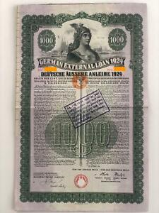 German External Loan, 7% Gold Bond - 1924, with 19 coupons, with PASS-CO