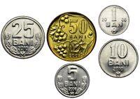Moldova coin set 5 coins 1, 5, 10, 25, 50 bani 2006 - 2010 UNC