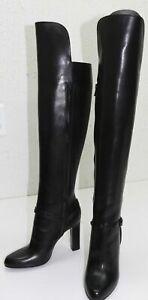 $1890 Authentic VERSACE Women's Runway Knee High Signature Black Boots 6