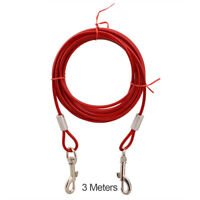 3m/5m/10m Pet Dog Puppy Wire Leash Metal Steel Tie Out Dual Collar Cable Lead x1