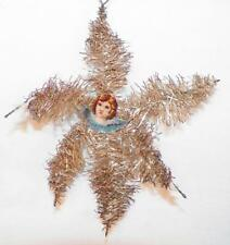 Antique Christmas Ornament Star Die Cut Angel Tinsel Victorian #46