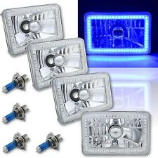4X6 Blue SMD LED Halo Angel Eye Headlight Headlamp Halogen Light Bulbs Set of 4