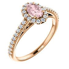14kt Rose Gold 6mm x 4mm Oval Genuine Morganite & Diamond Engagement Ring