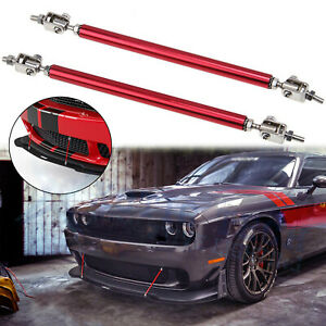 "13"" Bumper Lip Splitter Strut Rod Tie Support Bar For Dodge Charger Challenger"