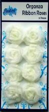 Creative Expressions ORGANZA RIBBON ROSES  8 pieces WHITE RR001