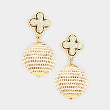Faux Quatrefoil Druzy Stone Drop Thread Ball Earrings $9.99
